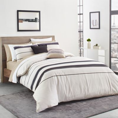Lacoste Avoriaz Reversible Twin/Twin XL Comforter Set In Taupe