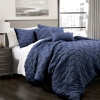 Lush Décor Ravello 5-Piece Full/Queen Comforter Set in Navy