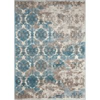 "Nourison Karma 5'3"" x 7'4"" Machine Woven Area Rug in Ivory Blue"