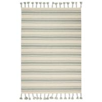 """Nourison Solano 4' x 6'6"""" Hand Woven Area Rug in Ivory/Spa"""