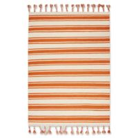 "Nourison Solano 5' x7'6"" Hand Woven Area Rug in Ivory/Orange"