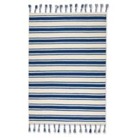 """Nourison Solano 5' x 7'6"""" Hand Woven Area Rug in Ivory/Navy"""