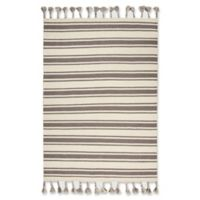"""Nourison Solano 5' x 7'6"""" Hand Woven Area Rug in Ivory/Grey"""