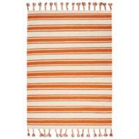 "Nourison Solano 8' x 10'6"" Hand Woven Area Rug in Ivory/Orange"