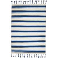 """Nourison Solano 8' x 10'6"""" Hand Woven Area Rug in Ivory/Navy"""