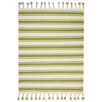 """Nourison Solano 8' x 10'6"""" Hand Woven Area Rug in Ivory/Green"""