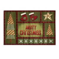 "Brumlow Mills® ""Merry Christmas"" 1-Foot 8-Inch x 2-Foot 10-Inch Accent Rug in Green"