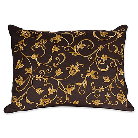 Kenya Floral Scroll Embroidery Oblong Throw Pillow in Brown - Bed Bath & Beyond