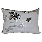 Mermaid Sequin Throw Pillow in White/Silver