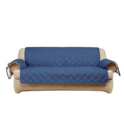 sure fit reversible denim and sherpa sofa cover