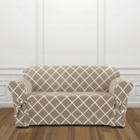 Sure Fit® Lattice Loveseat Slipcover in Tan