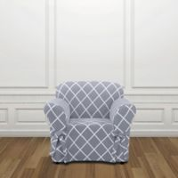 Sure Fit® Lattice Chair Slipcover in Pacific Blue