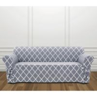 Sure Fit® Lattice Sofa Slipcover in Pacific Blue