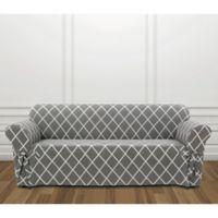 Sure Fit® Lattice Sofa Slipcover in Slate Grey
