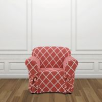 Sure Fit® Lattice Chair Slipcover in Coral
