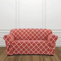 Sure Fit® Lattice Loveseat Slipcover in Coral
