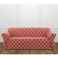 Sure Fit® Lattice Sofa Slipcover in Coral