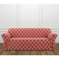 Sure Fit® Lattice Sofa Slipcover in Coral