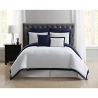 Truly Soft Everyday Hotel 7-Piece Full/Queen Duvet Cover Set in Navy/White