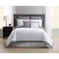 Truly Soft Everyday Hotel 7-Piece Full/Queen Duvet Cover Set in Grey/White