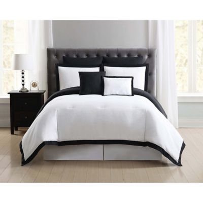 truly soft everyday hotel 7piece fullqueen comforter set in blackwhite