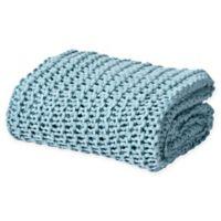 Oscar/Oliver Luca Chunky Knit Throw Blanket in Aqua