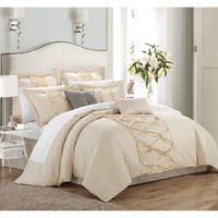 Chic Home Rossana 12-Piece King Comforter Set in Beige