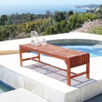 Vifah 59-Inch Rectangle All Weather Backless Bench in Natural Wood
