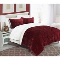 Chic Home Adele Sherpa-Lined King Comforter Set in Burgundy