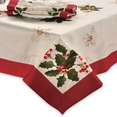 Holly Berries 70 Inch X 120 Inch Oblong Embroidered Tablecloth