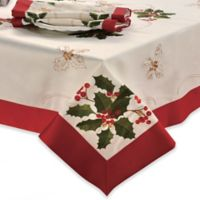 Holly Berries 70-Inch x 104-Inch Obong Embroidered Tablecloth