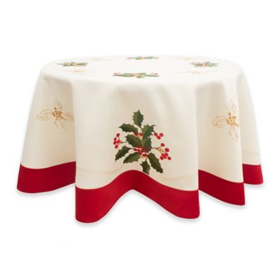 Holly Berries 70 Inch Round Embroidered Tablecloth