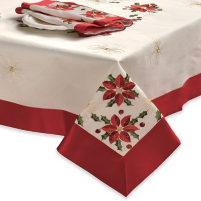 Creative Home Ideas Poinsettia Embroidered 52 Inch X 72 Inch Oblong  Tablecloth