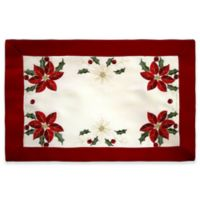 Creative Home Ideas Poinsettia Embroidered Placemats (Set of 4)