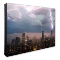 Chicago Skyline Storm 16-Inch x 20-Inch Photo Canvas Wall Art