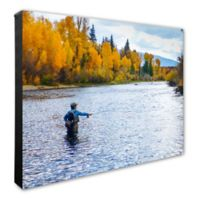 Fly Fisherman Stream 16-Inch x 20-Inch Photo Canvas Wall Art