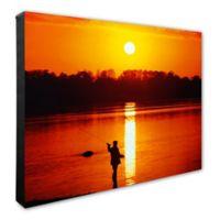 Fly Fisherman Sunrise 20-Inch x 24-Inch Photo Canvas Wall Art