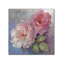 Trademark Fine Art Peter McGowan 'Roses on Blue I Crop' 24-Inch Canvas Wall Art
