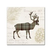 Plaid Lodge I Tan 14-Inch Square Canvas Wall Art