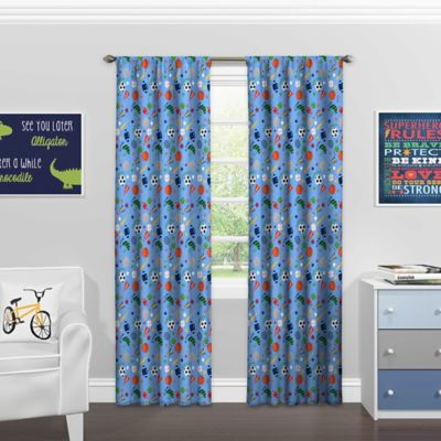 Superior Solar Shield® Sports 84 Inch Rod Pocket Room Darkening Window Curtain Panel  In Denim