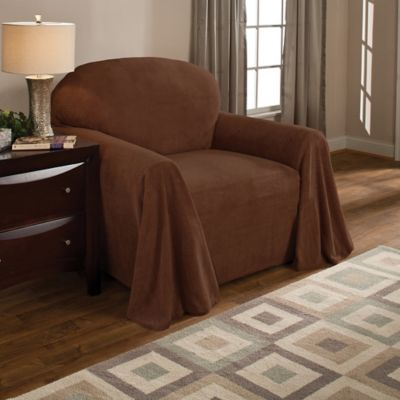 Coral Polyester Fleece Chair Throw Cover In Coffee