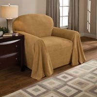 Coral Polyester Fleece Chair Throw Cover in Wheat