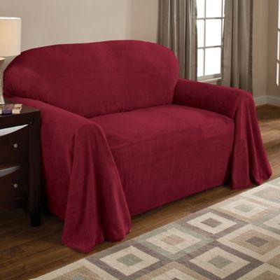Superbe Coral Polyester Fleece Sofa Throw Cover In Burgundy