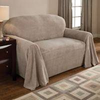 Coral Polyester Fleece Sofa Throw Cover in Natural