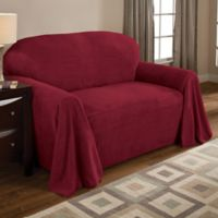 Coral Polyester Fleece Loveseat Throw Cover in Burgundy