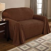 Coral Polyester Fleece Loveseat Throw Cover in Coffee