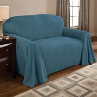 Coral Polyester Fleece Loveseat Throw Cover in Teal