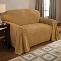 Coral Polyester Fleece Loveseat Throw Cover in Wheat