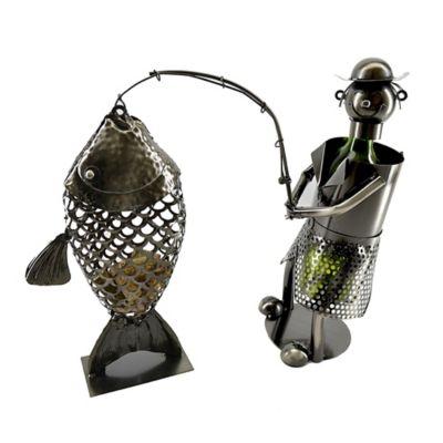 Wine Bodies Fisherman With Fish Cork Wine Bottle Holder