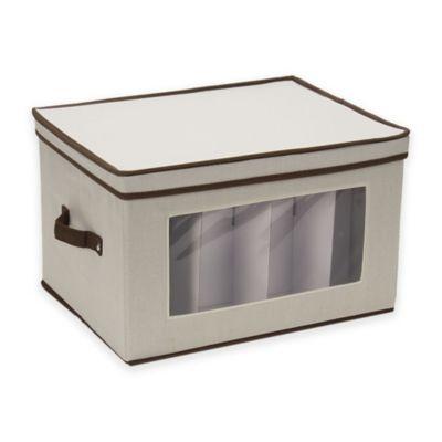 Superbe Household Essentials® Goblet Stemware Storage Box In Cream/Brown